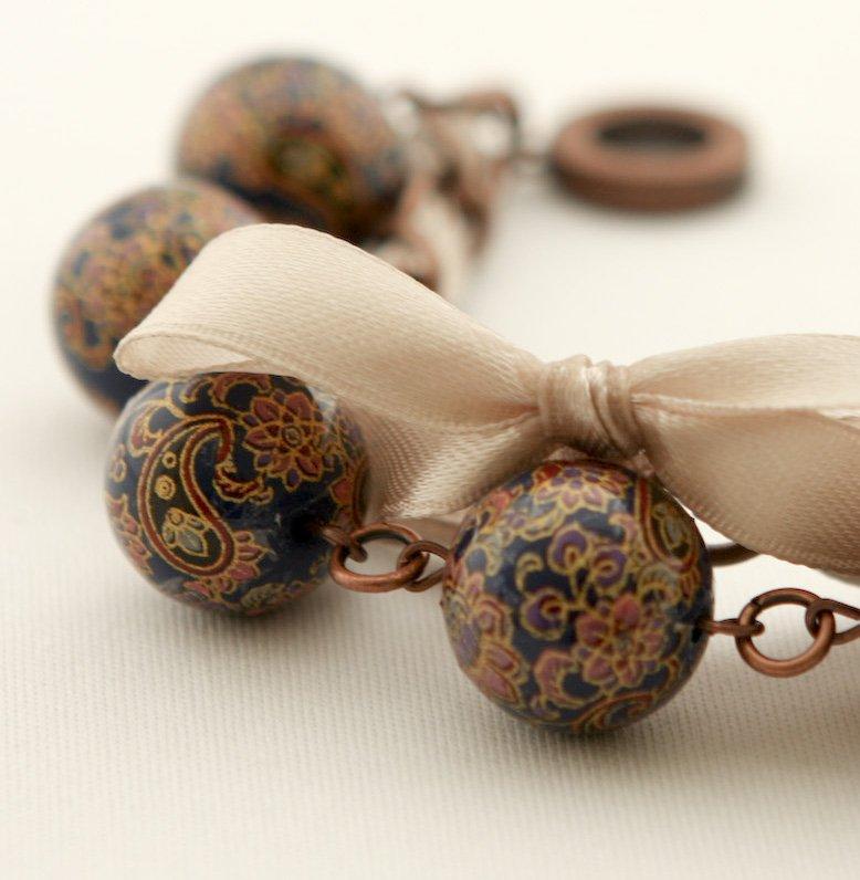 Dark Blue Beads and Beige Satin Ribbon Bracelet