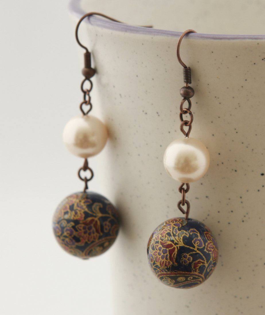 Antique Copper, Dark Blue Japanese beads and Shell Pearls Earrings