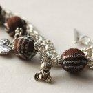 Brown Tartan and Tibetan Silver Beads Bracelet