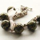 Ivory Satin Ribbon and Black Kimono Beads Bracelet