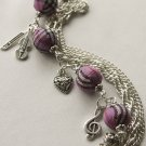 Purple Tartan and Musical Charms Bracelet