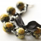 Black Satin Ribbon and Yellow Roses Beads Bracelet
