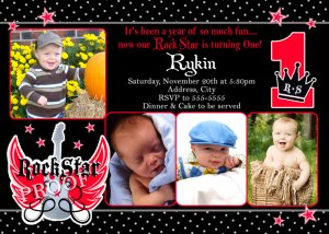 ROCK STAR ROCKSTAR 1ST 2ND 3RD Photo Birthday Party Invitations