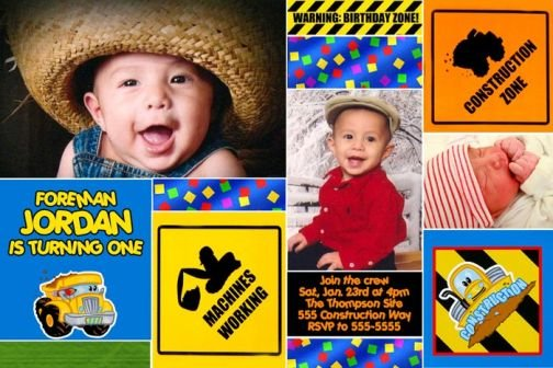 CONSTRUCTION TRUCK TONKA Photo Birthday Invitations
