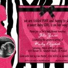 ZEBRA & HOT PINK Ultrasound Photo Baby Shower Invitation