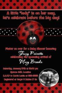 LADYBUG LADY BUG Ultrasound Photo Baby Shower Invitation