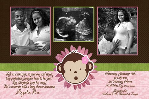 Lil' Monkey Girl Ultrasound Sonogram Photo Baby Shower Invitation
