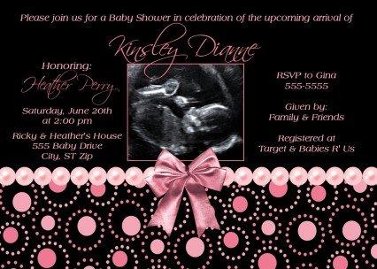 Black Hot Pink Pearl Girl Ultrasound Sonogram Photo Baby Shower Invitation