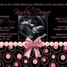 Black Hot Pink Pearl Girl Ultrasound Sonogram Photo Baby Shower Invitation