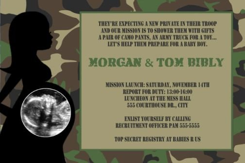 camo camouflage baby shower invitation army military marines, Baby shower invitations