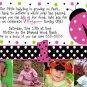 LADYBUG LADY BUG Photo Birthday Invitations Pink Black Lime