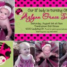 LADYBUG LADY BUG Photo Birthday Invitations Pink Black Lime