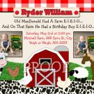 FARM BARNYARD BARN TRACTOR 1ST 2ND 3RD Photo Birthday Party Invitations