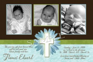 Boy Baptism Communion Christening Invitation Announcement Photo