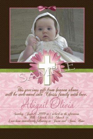 Girl Baptism Communion Christening Invitation Announcement Photo