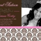 Damask Photo Sweet Sixteen 16 Photo Birthday Party Invitation