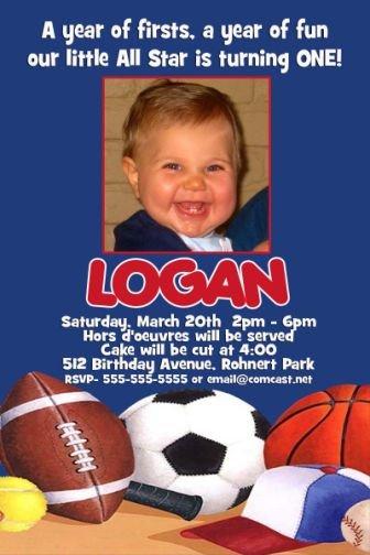 Sports Baseball Football Soccer Birthday Photo Party Invitations MANY DESIGNS!