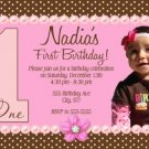 Girl First 1st Birthday Party Photo Invitation Pink Chocolate Brown