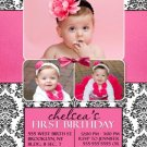 Hot Pink Black White Damask First 1st Birthday Party Photo Invitation