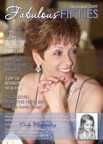 Adult 50th Birthday Magazine Cover Photo Invitation 21st 30th 40th