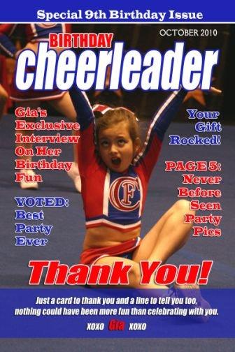 Cheerleader Cheer Magazine Cover Birthday Invitation Sports