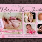 GIRL PINK BROWN MODERN Baby Birth Announcement