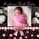 GIRL PINK BLACK MODERN Baby Birth Announcement