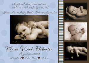 Boy Blue & Chocolate Brown MODERN Baby Birth Announcement