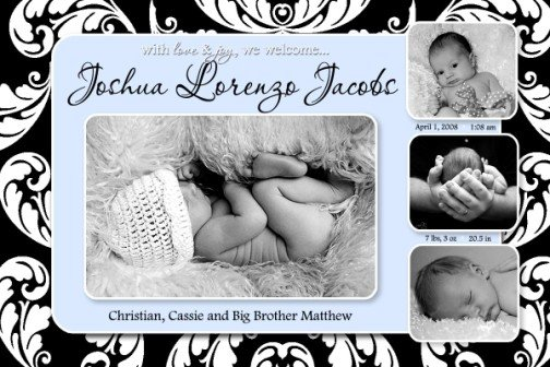 Boy Blue & Black Unique Baby Birth Announcement