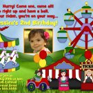 CIRCUS CARNIVAL BOY GIRL PHOTO BIRTHDAY INVITATION