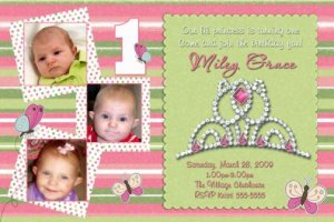 PRINCESS CROWN TIARA 1st First Birthday Party Invitation