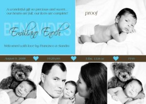 Tiffany Turquoise Blue Boy Baby Birth Announcement
