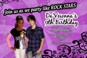 Justin Beiber Photo Birthday Party Invitations