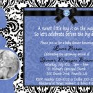 Damask Pregnant Mom Baby Shower Invitation Boy Girl Ultrasound Photo