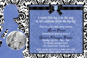 Damask Pregnant Mom Baby Shower Invitation Boy Girl Ultrasound Photo
