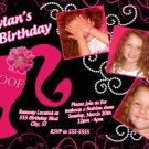 Barbie Silhouette Hot Pink Black Birthday Invitation Glitter Pearls