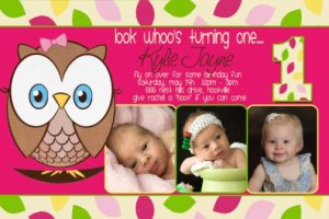 OWL 1st First Birthday Invitations Look Whoo's Turning ONE