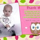 OWL 1st, 2nd, 3rd Photo Birthday Invitation Thank You Card