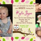 Girl's OWL 1st, 2nd, 3rd Birthday Party Invitations or Thank You Card