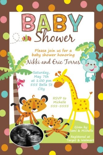 Fisher Price Rainforest Baby Shower Invitations Ultrasound Party