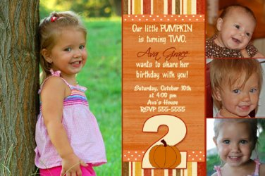 Pumpkin Halloween Party Supplies Birthday Invitations Thank You Cards