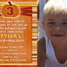 Orange Pumpkin Fall Birthday Invitations Thank You Cards