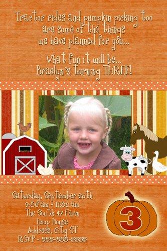 Pumpkin Farm Photo Birthday Invitations Thank You Cards