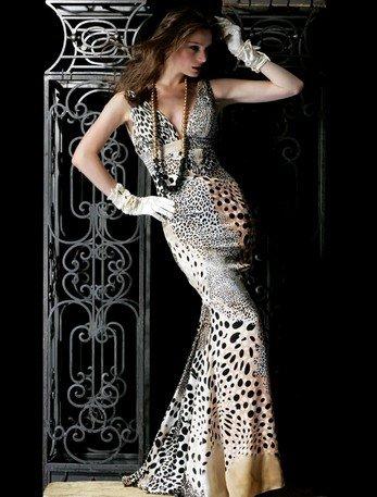 Jovani 196620 Beige Animal Print Prom Pageant Dress Sz.8