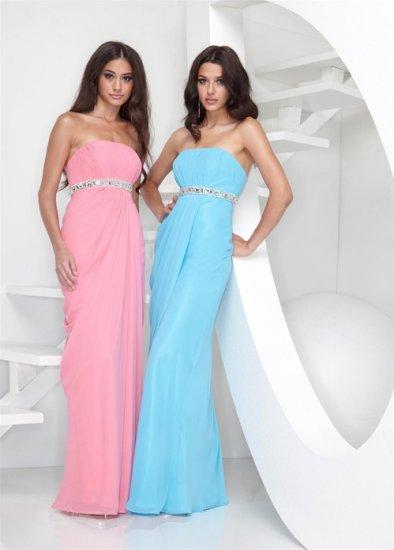 Xcite Prom 3828 Strapless Empire Waist Chiffon Evening Dress