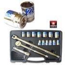 """17 Pcs 1/2"""" Dr. Hi-Viz Socket Set MM - Nk # 02491A"""