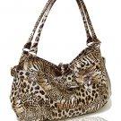 Faux Patent Leopard Print Handbag (Tan)