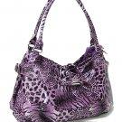 Faux Patent Leopard Print Handbag (Purple)