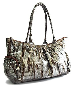 Metallic Zebra Look with Side Zip Pockets (Brown)