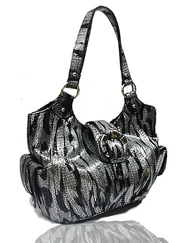 Metallic Zebra with Side Pockets Handbag (Black)